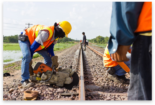 Employees working on railroad tracks