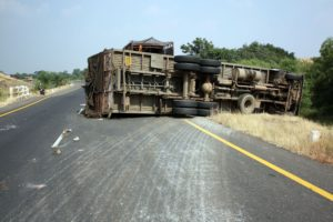 overturned truck after an accident